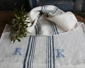 C 734 antique rustic grainsack french INDIGO holiday feeling pillow cushion 21.65 wide