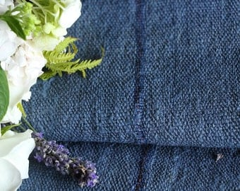 R 254 antique handloomed lin NAVY BLUE 6.99yards rural;  by 22.44inches ; stairrunner, cushion, pillow, french lin,upholstery fabric