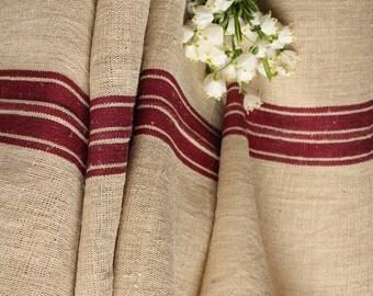 R33 antique hemp linen roll DARKEST AUBERGINE grainsack fabric 18.03yards wedding decor lin 22.05wide