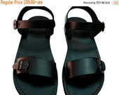 SALE Black Eclipse Leather Sandals for Men & Women - Handmade Unisex Sandals, Flip Flop Sandals, Jesus Sandals, Genuine Leather Sandals