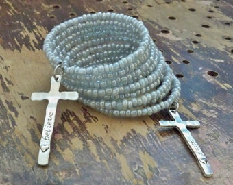 Wrap / Coil bracelet - Silver gray seed beads - Large Cross charms - Rosary Faith & Believe - Multi strand cuff - One of a Kind bycat