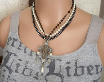 Religious Multi strand vintage necklace - Rosary Cross / crucifix - Rosary medals - One of a Kind bycat