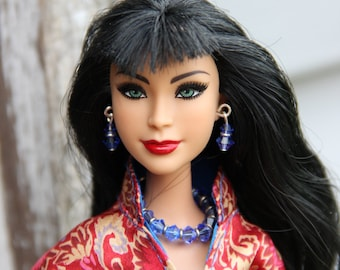"Sapphire Blue Bicone Beaded Doll Jewelry Necklace Earring and Bracelet Set for 1/6th Scale 11 1/2 - 12 inch 17"" High Fashion Dolls"