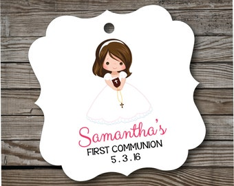 RESERVED - 168 Girl First Communion Tags . Personalized Communion Favor Tags