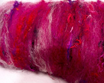 Carded batts, Art Batts, Spin, felting, fibre, hand carded, hand dyed, Leicester Longwool Locks, 113g, Cheviot, Baby alpaca, name  Fantasy