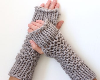 Thick-Knit Fingerless Mittens in Dallas Grey - Ready to Ship
