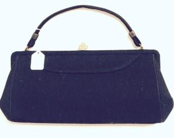 Madmen style retro black wool flannel purse with gold rhinestone trim