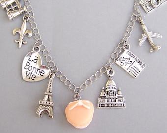 Love Paris bracelet, France necklace, Paris charm, travel bracelet, macaron, Eiffel Tower, travel charm bracelet, love travel