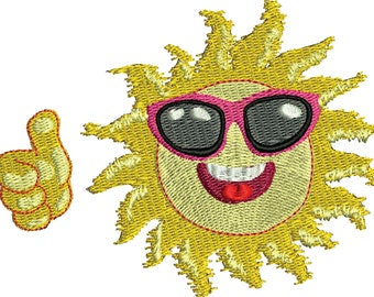 Summer Thumbs Up machine embroidery