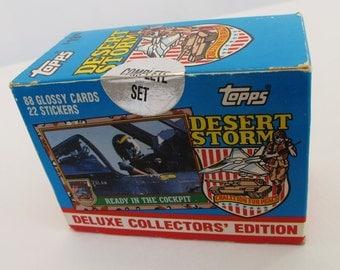 Topps Desert Storm War Cards Deluxe Collectors Edition Military Memorabilia Momento Collectible Trading Card Set Persian Gulf Battles