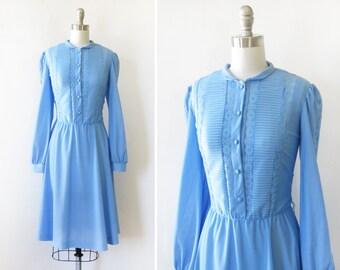 70s blue dress, vintage 1970s day dress, medium blue lace shirt dress