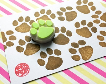 paw print stamp. dog paw hand carved rubber stamp. cat paw stamp. bear cub animal stamp. pet birthday scrapbooking. diy gift wraps. small