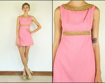 Vintage 60's Mod Empire Pink Boho Preppy Party Cocktail Prom Gogo Mini dress XS S