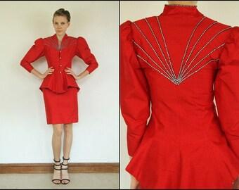 Vintage 80s Silk Red Rhinestone Avant garde Peplum Glam Party top jacket Pencil skirt Set XS S