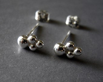 Tiny Earrings, Argentium Sterling Silver Earrings, Hand Made Earrings, Small Sterling Silver Post Earrings, Small Stud Earrings