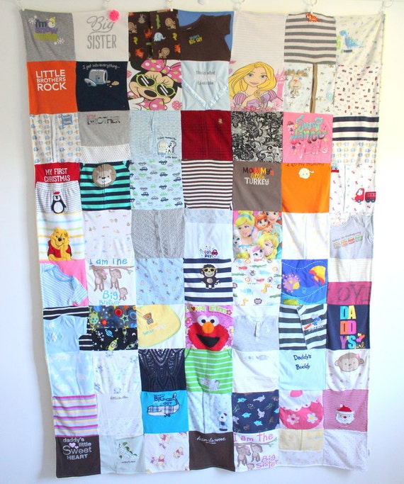 Extra Large Custom Baby Clothes Quilt Memory Blanket : custom baby clothes quilt - Adamdwight.com