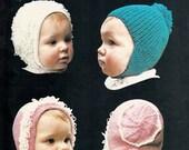 Vintage Bruneau Baby Hats Knitting Pattern 3037