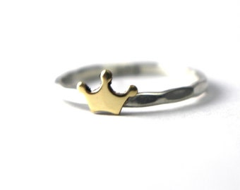 Crown Ring, Brass Crown, Princess Ring, Queen Ring, Stack Ring, Sterling Ring, Hammered Ring, Gold Crown Ring, Princess Jewelry