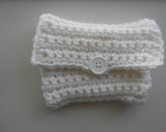 Crochet Coin Purse Money Holder White Wedding Handmade
