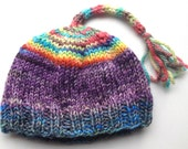 Hand knit Hand dyed  Scrappy Wool Baby Hat with Tassel on Top