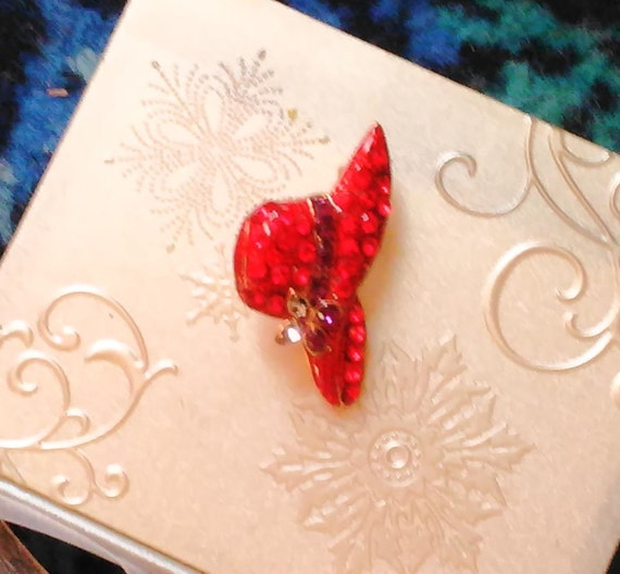 Red Hat Pin: Red Hat Brooch Hat Pin JewelryEnemeled Brooch Sparkle