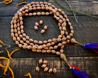 Full Necklace: Ethiopian Brass and Copper, Hollow Balloon Metal Beads, 8-10mm, 70 beads, Handmade Vintage African Beads, Authentic African