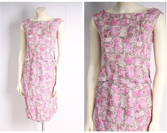 vintage 1950s dress set pink watercolor print blouse + pencil skirt set size xs/small