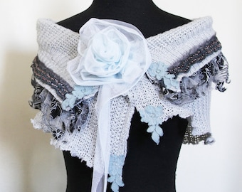 upcycled clothing, upcycled fashion, wearable art, shrug, shawl, capelet . blue october . S - M