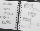Drawings for bespoke wedding or engagement ring.