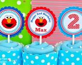 Elmo Cupcake Toppers, Elmo Birthday Party, Sesame Street Cupcake toppers - Set of 12