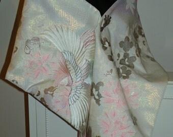Handmade Wedding Kimono Fabric Shrug/Shawl/Wrap..Embroidered Flying Phoenix Bird..Bridal Blue/Long Island Wedding/Free Monogram,,Clutch/Bag