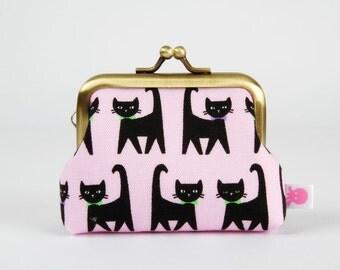 Metal frame change purse - Black cats with bowties on pink - Big mum / Kawaii japanese fabric / Light pink purple green black kitties