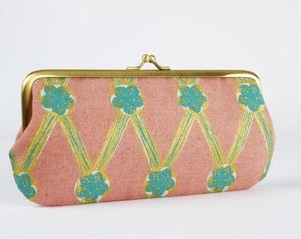 Eyeglass frame purse - Lattice metallic in dusty pink - Long purse / Eyeglass case / Cell phone holder / Japanese fabric / teal blue gold