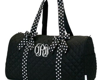Monogrammed Black Quilted Duffel Bag with Polka Dot Handles