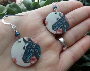 Horse Earrings. Painted Shells