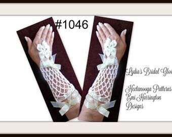 CROCHET PATTERN, Bridal gloves, wedding accessories, Lovely Lydia Bridal Gloves, fingerless gloves,  1046- Easy pattern