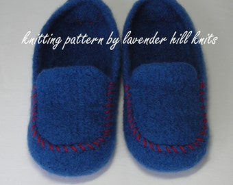 Knitting Pattern PDF - Men's Felted Wool Loafers Mocs Slippers - DIY Christmas gift - permission to resell - BULKY weight yarn