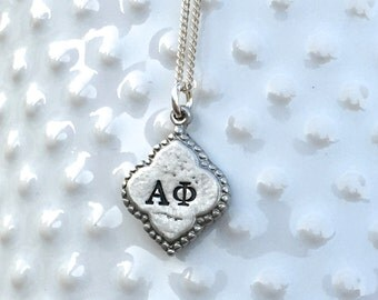 Alpha Phi Necklace - Alpha Phi Jewelry, Pewter, Sorority Jewelry, Greek Jewelry, Big Little Gift