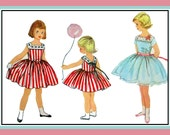 Vintage 1958-PRETTY PARTY DRESS-Toddler Sewing Pattern-Two Styles-Square Collar-V Back Neckline-Ribbon Detail-Full Twirl Skirt-Size 4-Rare