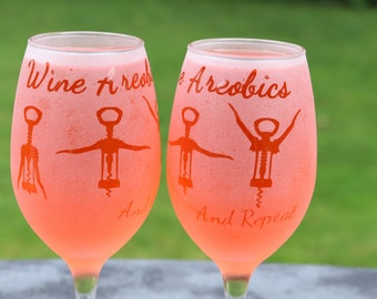 Wine Areobics Frosted Etched White Wine Glasses Set Of 2