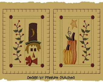 Primitive Machine Embroidery Design-Winter Mittens-Version 1-(2 Designs)-Large Size 5x7-INSTANT DOWNLOAD