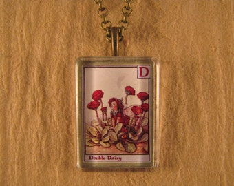 Double Daisy Flower Fairy Letter D Small Flat Rectangle Glass Pendant with Chain Necklace Cicely Mary Barker Flower Alphabet Jewelry