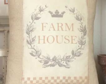 Farmhouse Pillow Cover. Shabby Chic Pillow Cover with Pillow Form, Cottage Cushion