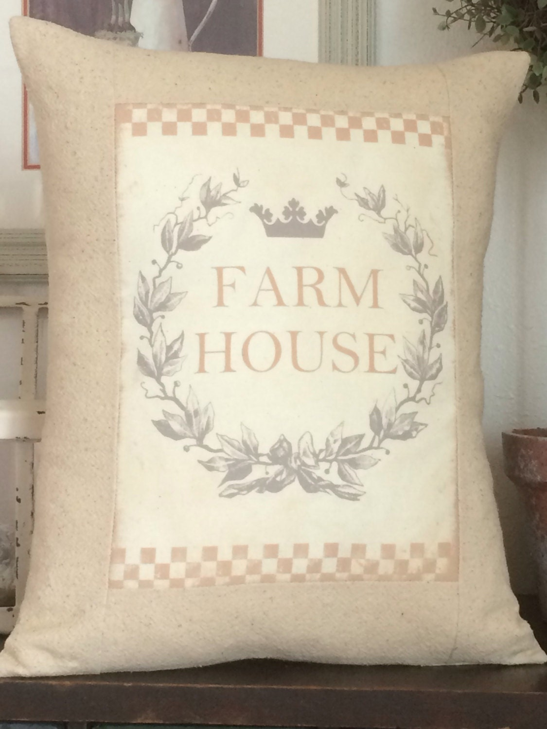 Shabby Chic Pillows On Etsy : Farmhouse Pillow Cover. Shabby Chic Pillow Cover with Pillow