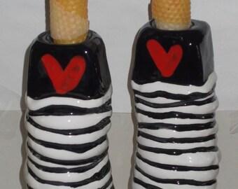pair of coil & heart candlesticks