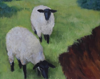Sheep Painting,Sheep Grazing By The Canyon,10x10 Original Oil Painting on Canvas,Farm Animal Art by Cheri Wollenberg