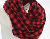 Red-Black Buffalo Plaid Cotton Flannel Infinity Scarf -Lumberjack Plaid Check