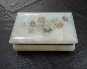 Trinket Jewelry Box Vintage Alabaster