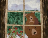 Anybody home? Mama Bear and Bear Cub in the Window Quilt / Wall Hanging, cabin, woods, wall decor,