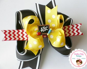NEW---Big Boutique Triple Layered Hair Bow Clip---SCHOOL DAYS---Back to School Bow